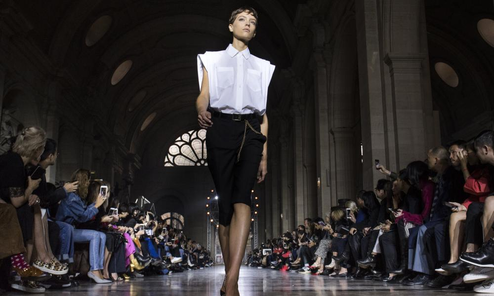 A model walks the runway at the Givenchy show