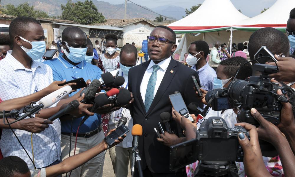 Burundi's minister of health Thaddee Ndikumana, speaks to the media in July.