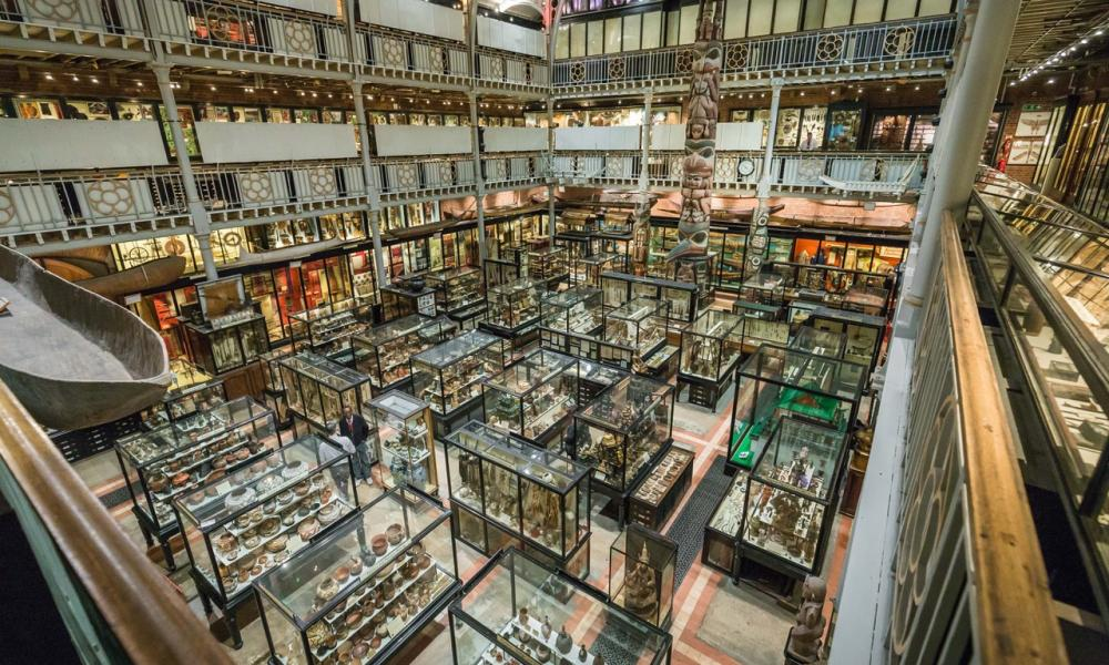 The crammed display cases of the Pitt Rivers Museum. Oxford.