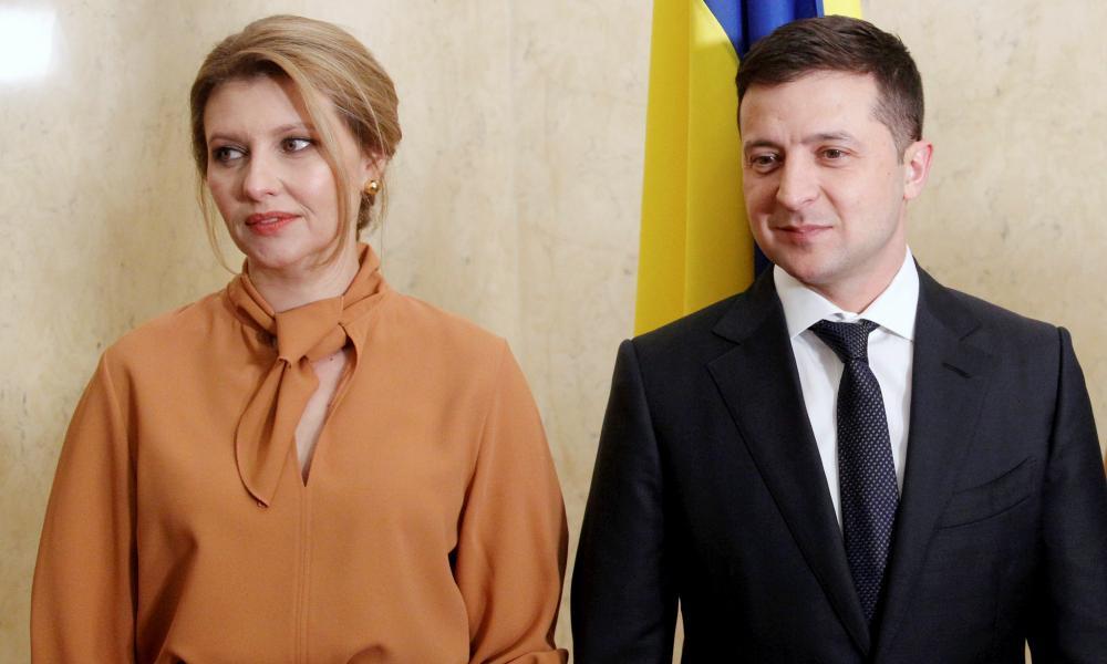 Ukraine's first lady, Olena Zelenska, with her husband, Volodymyr Zelenskiy, the president of Ukraine.
