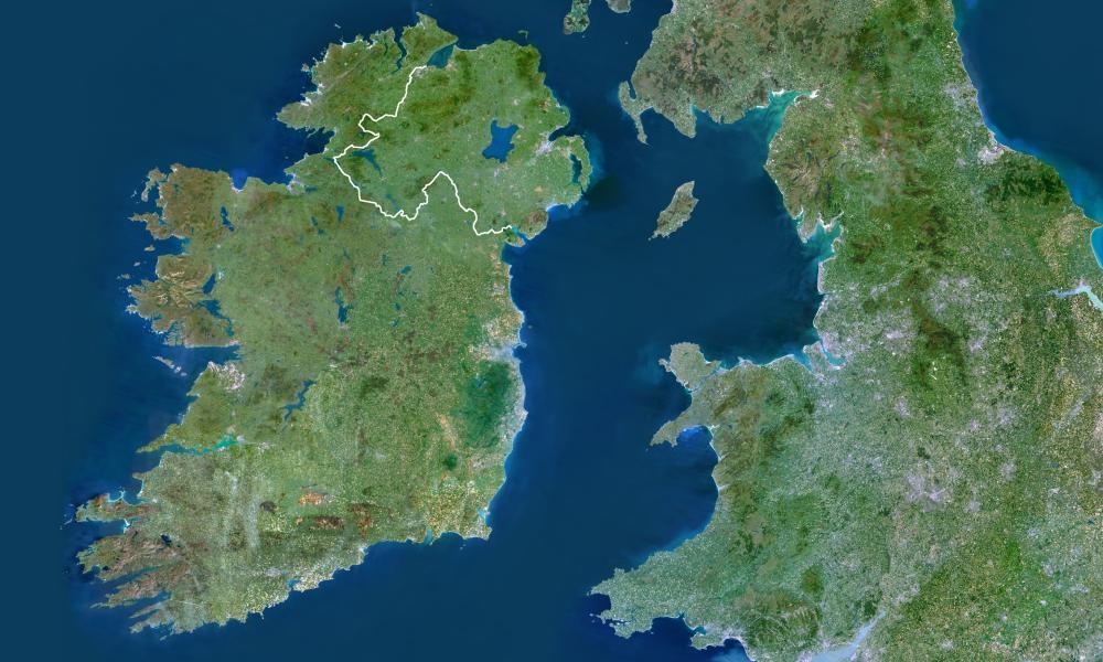Satellite view of Ireland.