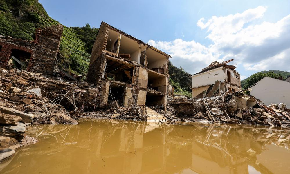 The aftermath of flooding on the Ahr River, in the district of Ahrweiler, Germany, after extreme weather this month.