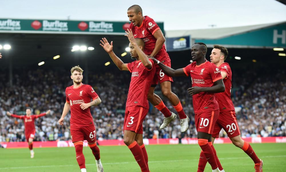 Fabinho celebrates scoring their second goal