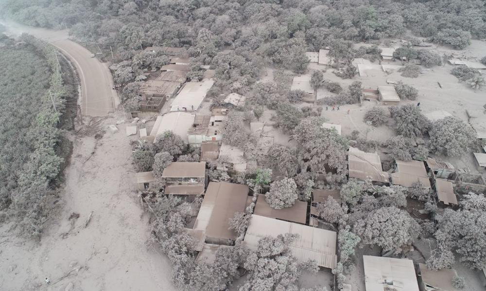 Image of an ash-covered town in the aftermath of the eruption of the Fuego volcano