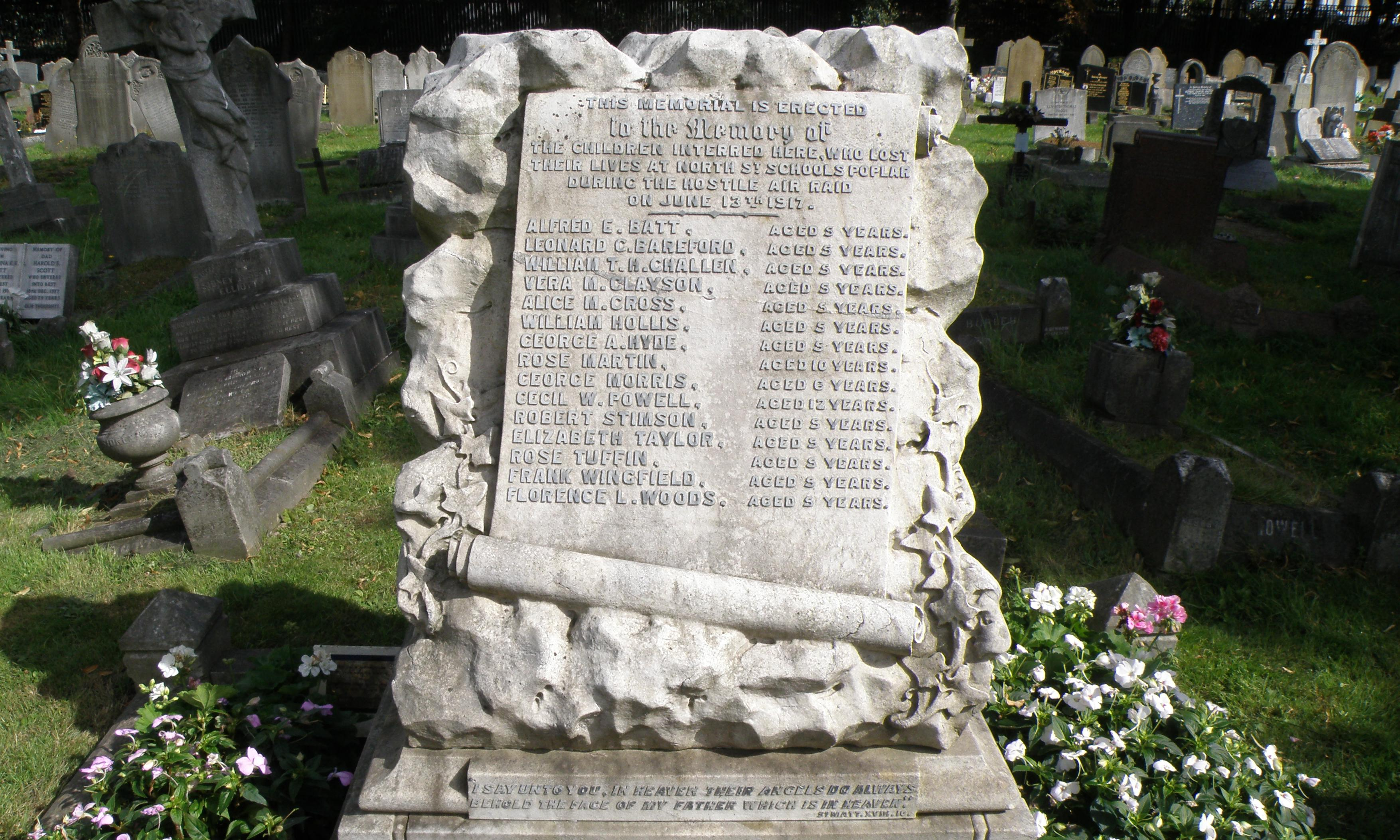 Gravestone for London children killed by WW1 bomb gets Grade II listed