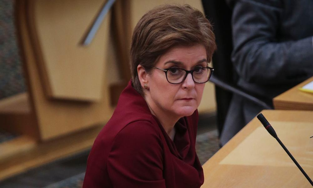 Nicola Sturgeon during First Minster's Questions in the debating chamber of the Scottish parliament in Edinburgh.