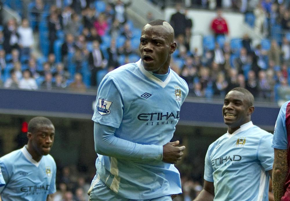 Mario Balotelli scores for City in their title-winning campaign in 2011-12.
