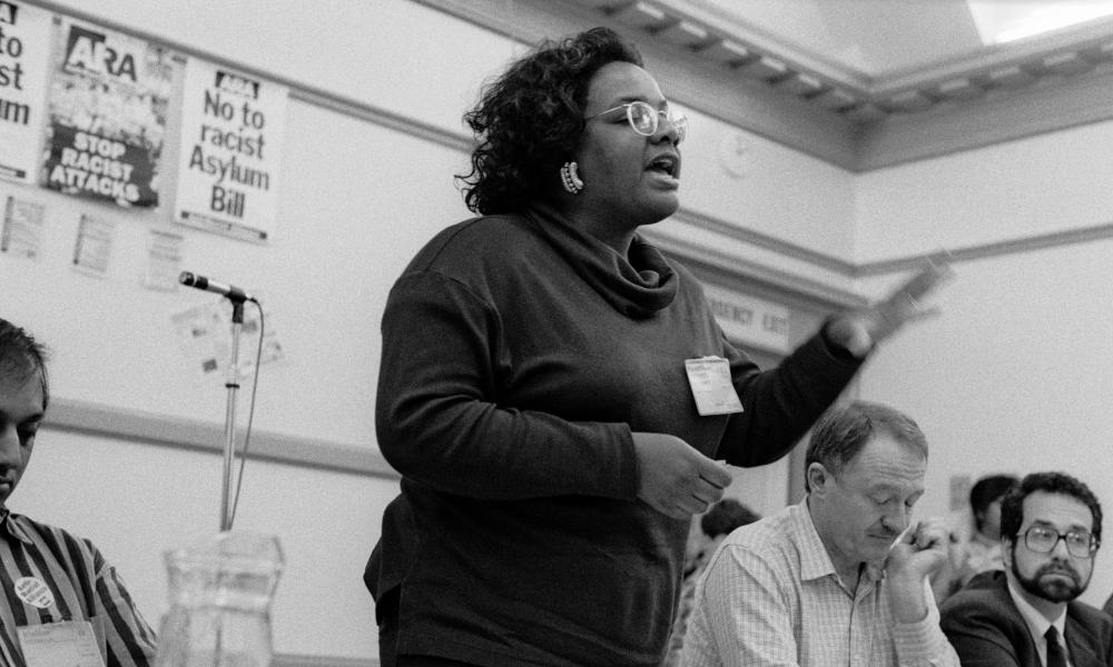 Diane Abbott addresses an ARA (Anti-Racist Action) conference in 1992.