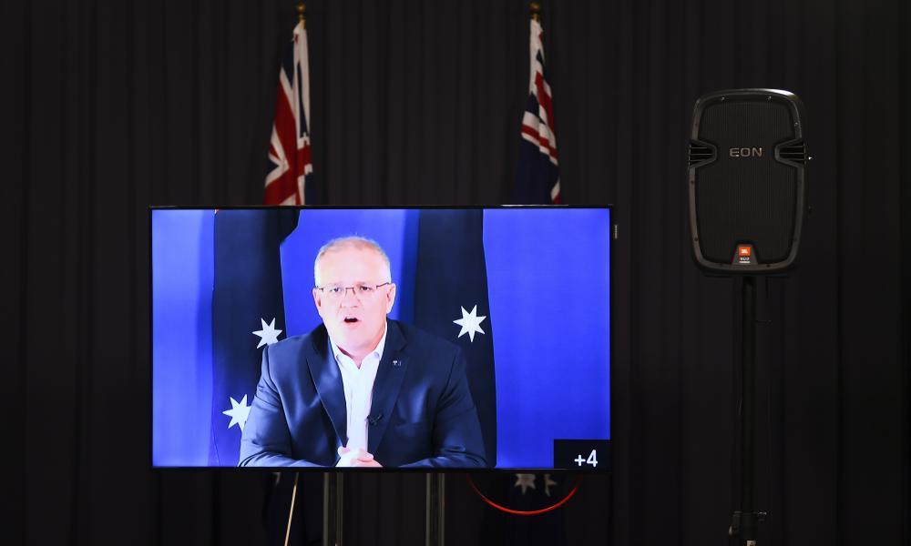 Australian prime minister Scott Morrison speaks to the media during a virtual press conference