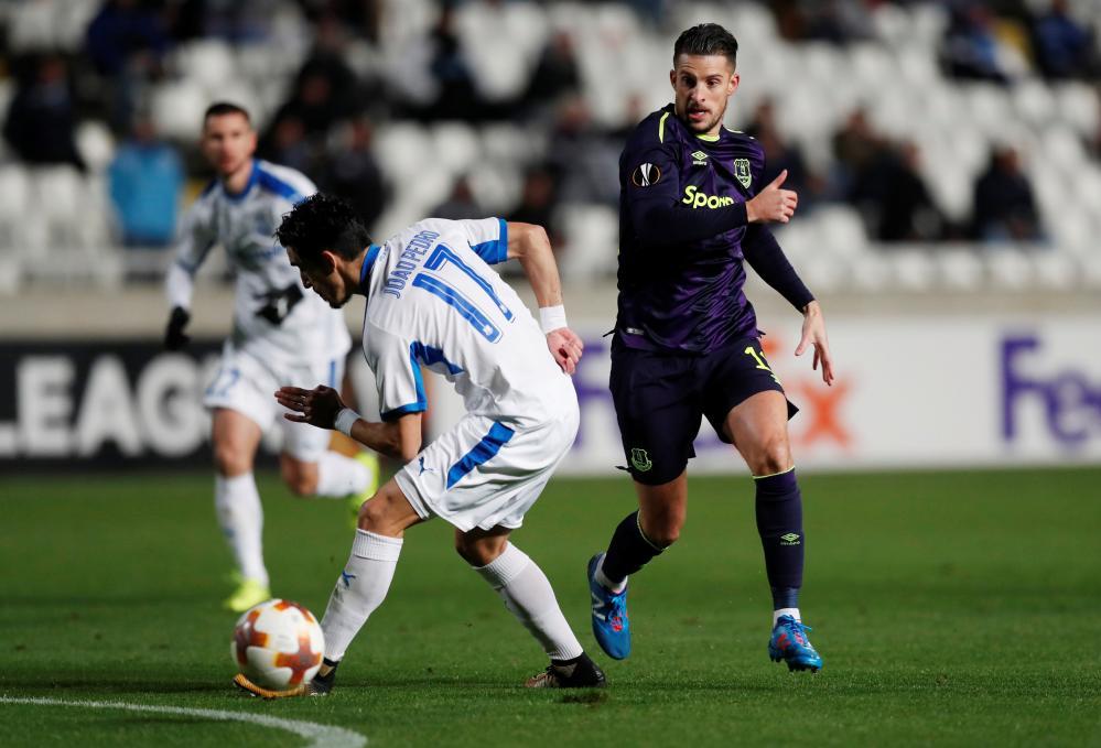 Everton's Kevin Mirallas surges past Apollon Limassol's Joao Pedro.