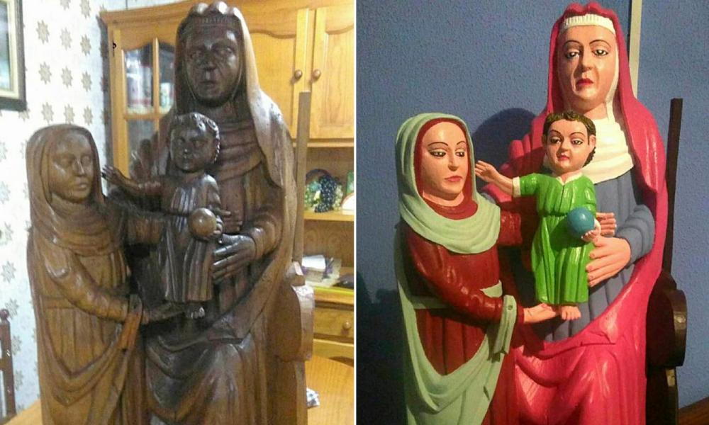 The botched statue of the Virgin and Child with St Anne