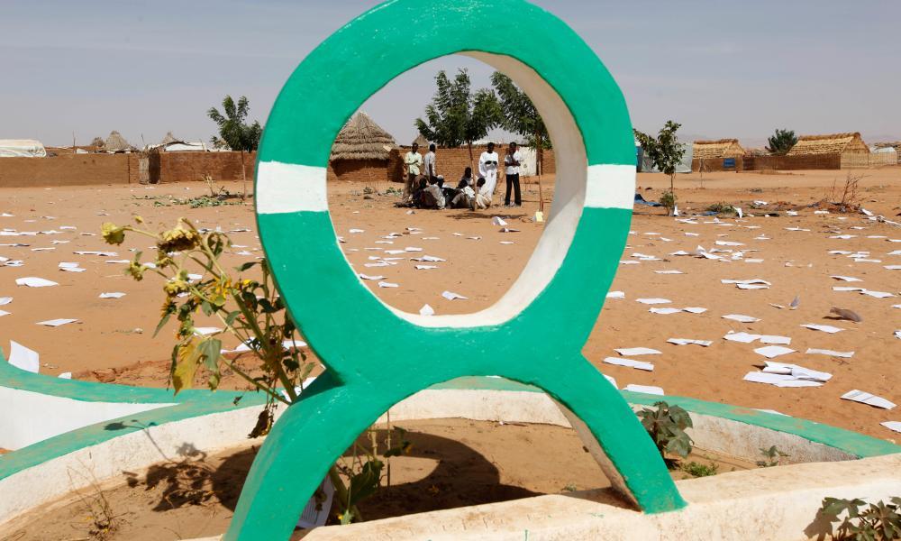 An Oxfam logo in Darfur.