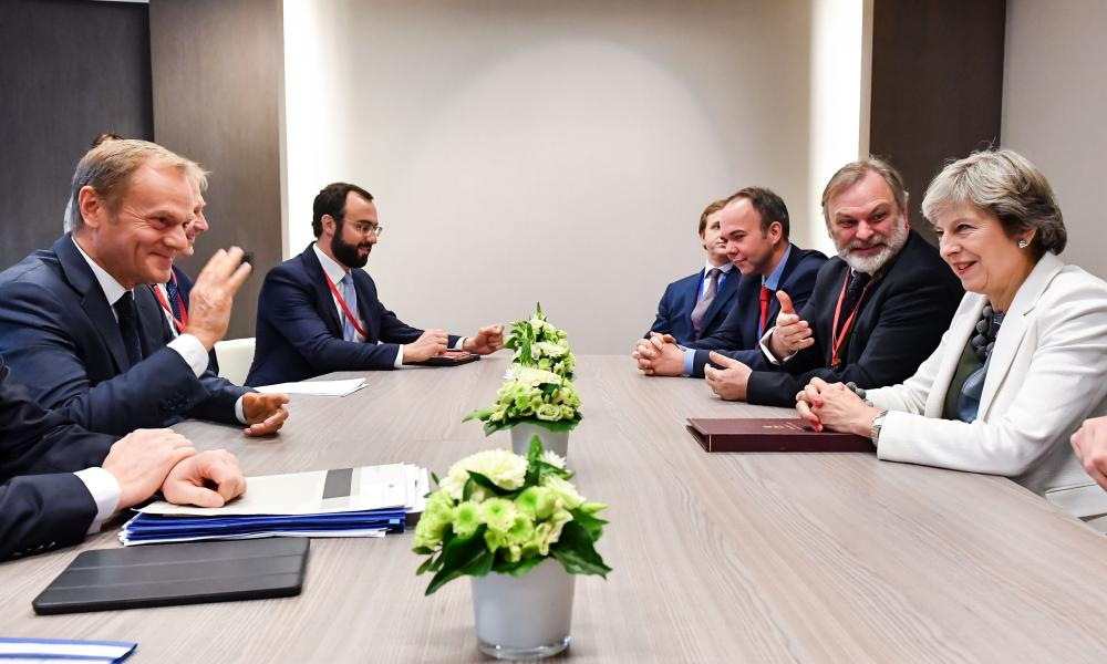 The British prime minister, Theresa May, meets the European council president, Donald Tusk.