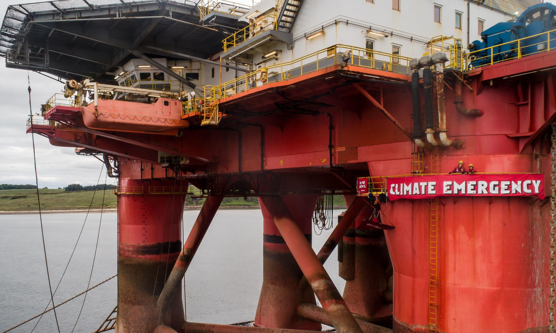 Greenpeace North Sea oil rig protest ends as police arrest two men