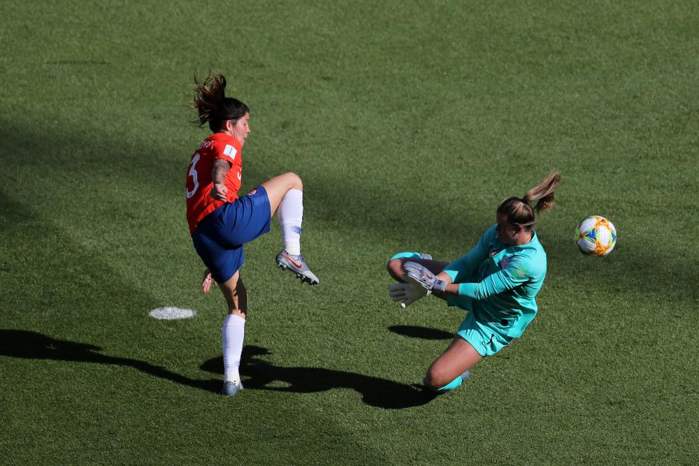 Carla Guerrero of Chile beats the keeper but the goal is disallowed.