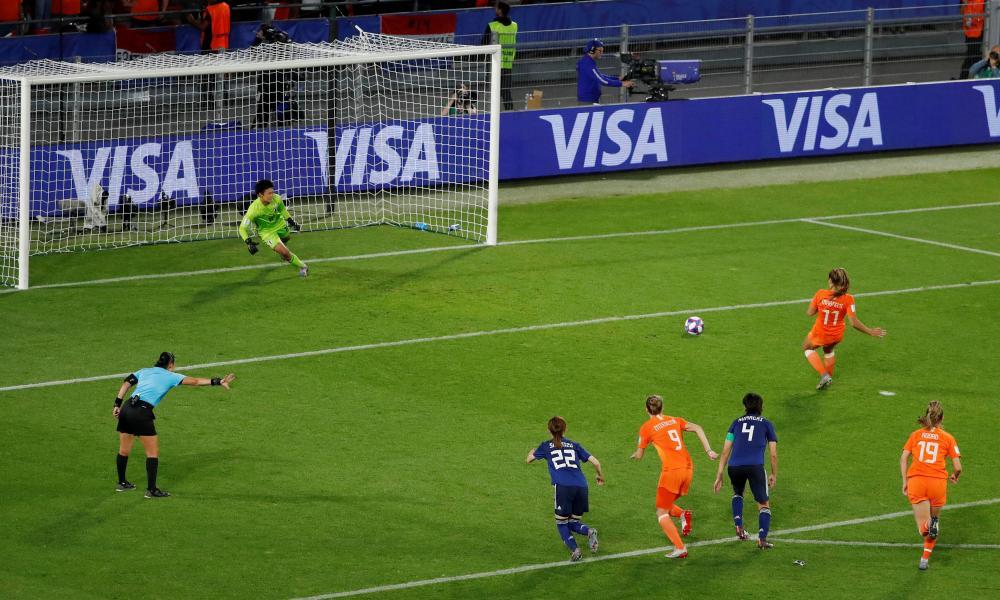 Netherlands' Lieke Martens scores their second goal from a penalty.