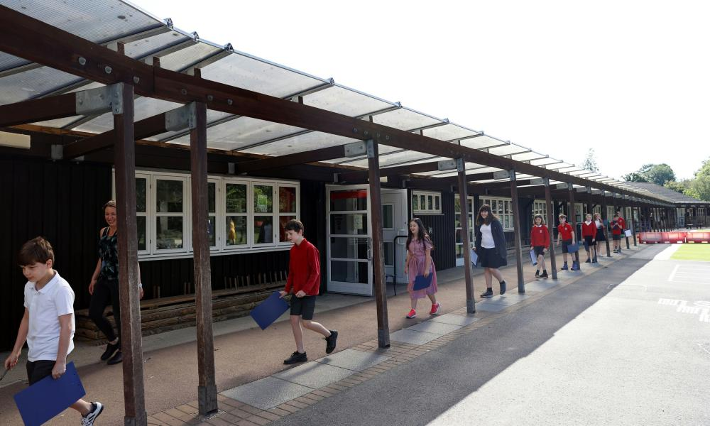 Pupils socially distancing at Watlington primary school this morning.