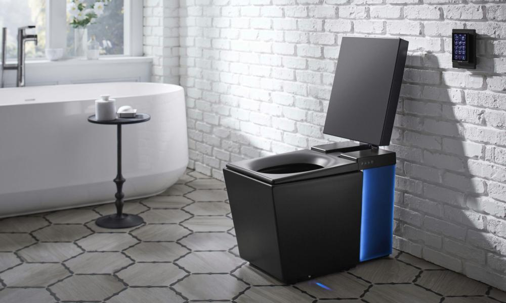 Kohler Numi's smart toilet, complete with voice-activation, mood lighting, heated seat, foot warmer and advanced bidet functionality with air dryer.
