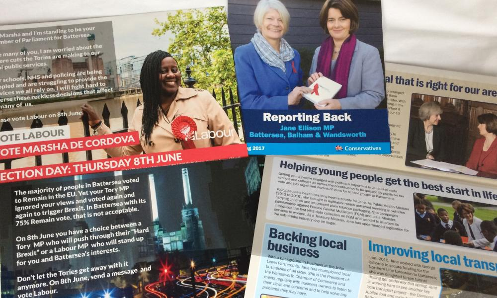 Election leaflets received by a reader in Battersea, south London.
