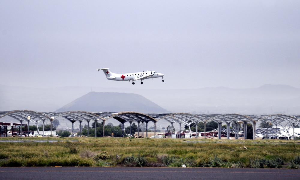 A plane takes off from Sana'a airport in Yemen