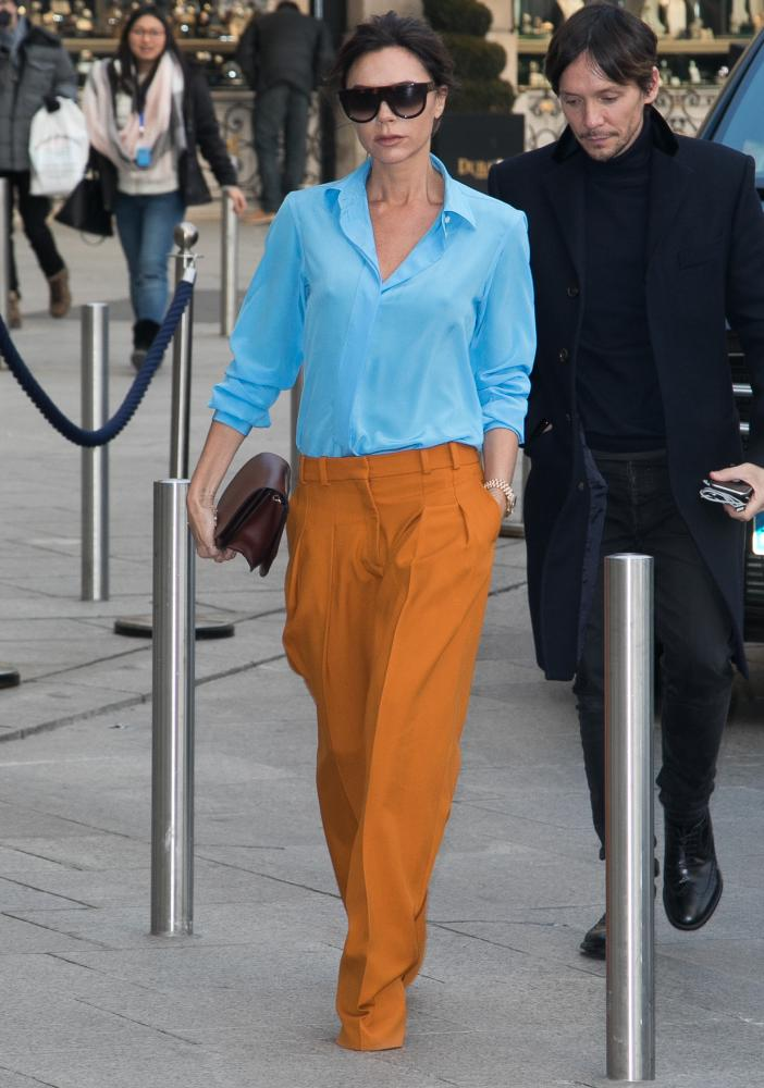 Victoria Beckham in happy tones.