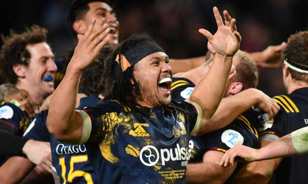The Highlanders' Aki Seiuli celebrates victory over the British & Irish Lions on Tuesday,