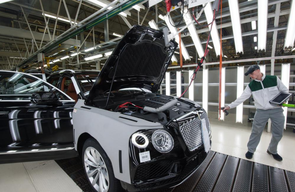 A Bentayga rolls off the production line at Bentley Motors in Crewe