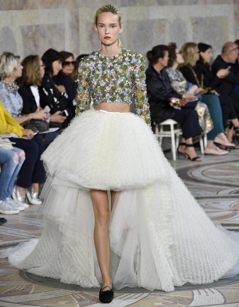A moderl in tulle on the Giambattista Valli catwalk.