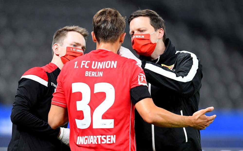 FBL-GER-BUNDESLIGA-HERTHA-UNION-BERLINUnion Berlin's Marcus Ingvartsen receives treatment.