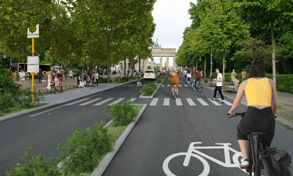 An artist's rendering of a bike-friendly road near the Brandenburg Gate