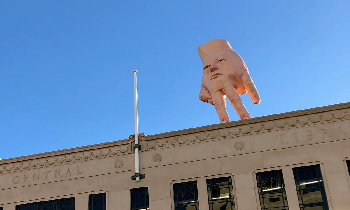 'Terrifying' hand sculpture flies in to give Wellington nightmares
