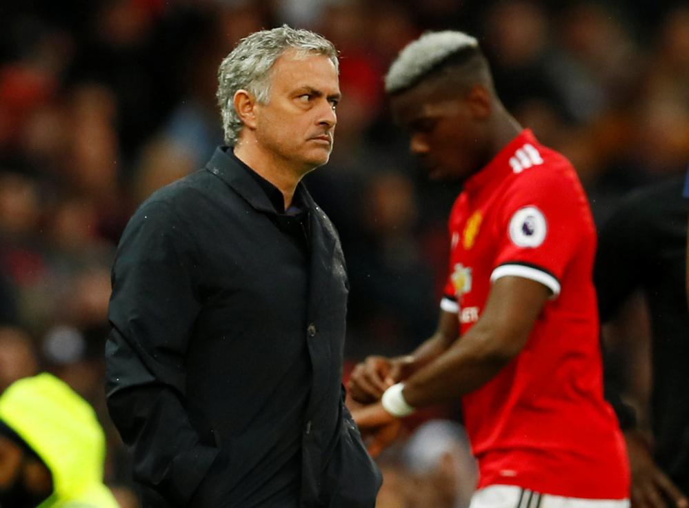 Mourinho as Pogba is substituted.