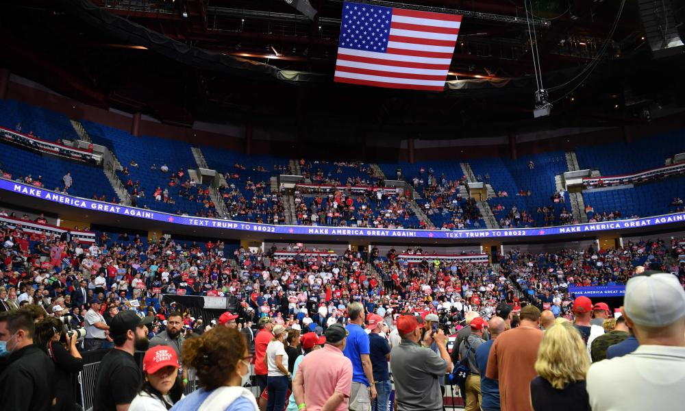 The upper section of the arena is seen partially empty as Trump speaks during a campaign rally at the BOK Center in Tulsa.