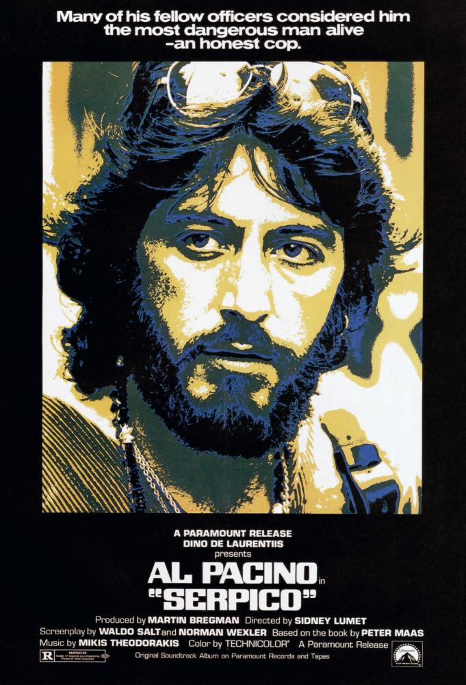 Duotone film poster in black white and yellow featuring a young, bearded Pacino with sunglasses on his forehead as the title character