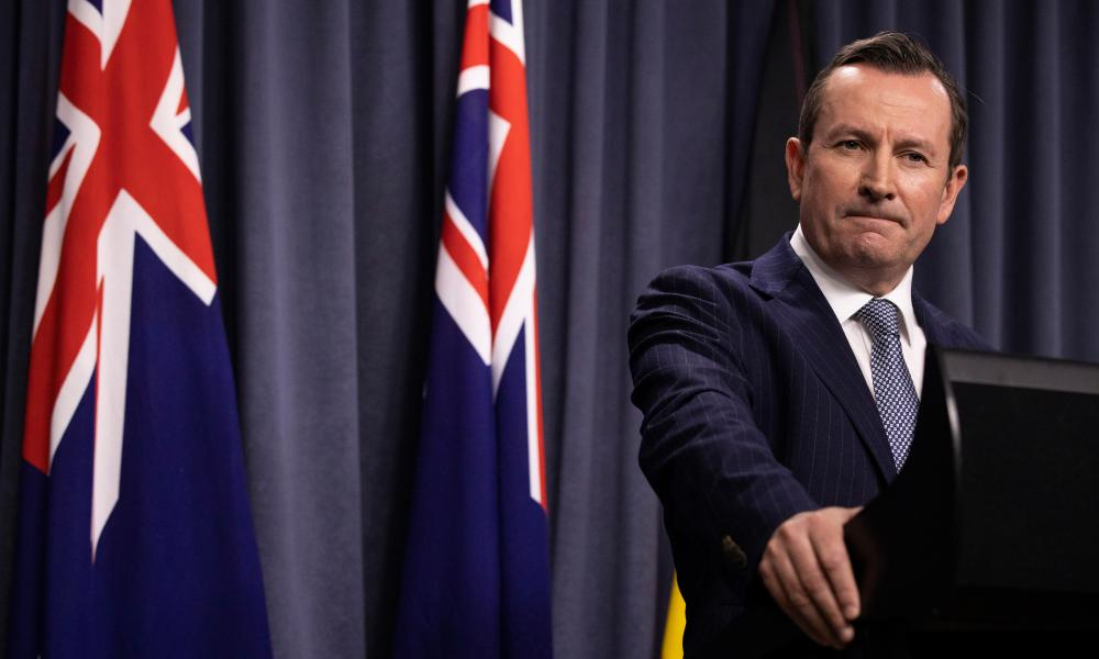 Western Australian Premier Mark McGowan speaks during a media conference at Dumas House in Perth, Australia.