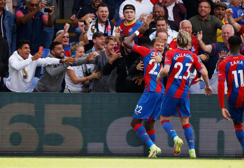 Crystal Palace's Odsonne Edouard celebrates scoring their second goal.