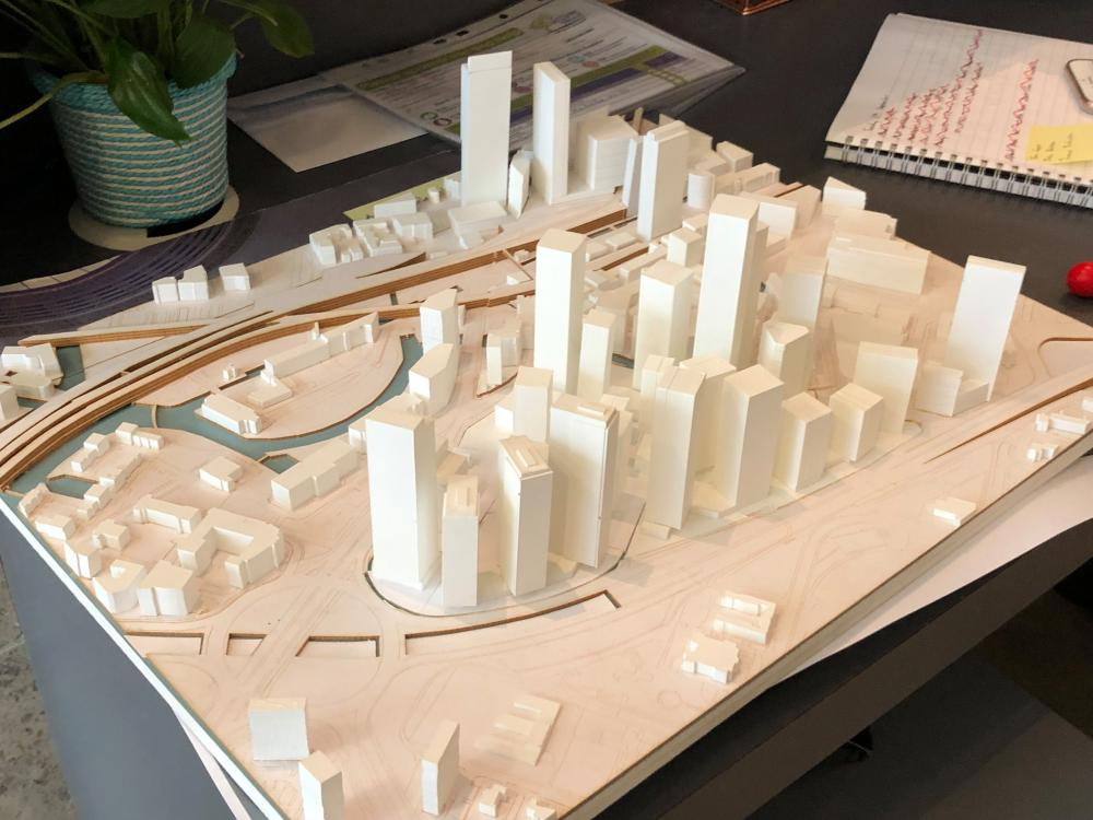 'It's starting to create a real skyline' … Simpson's model of Great Jackson Street, where the Deansgate shafts will be.