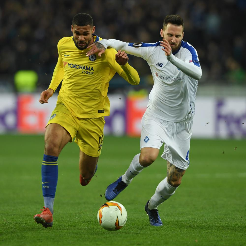 Ruben Loftus-Cheek shrugs off Tamas Kadar in the Ukraine.