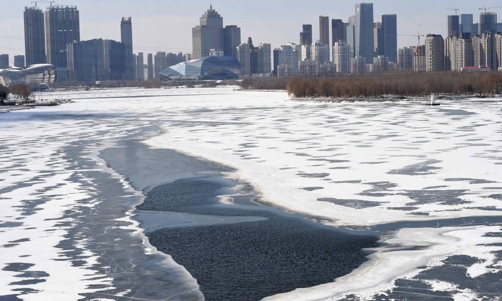 Things really are hotting up in China. Ice on the Hunhe river in Shenyang, capital of Liaoning province, thawing out on Sunday.
