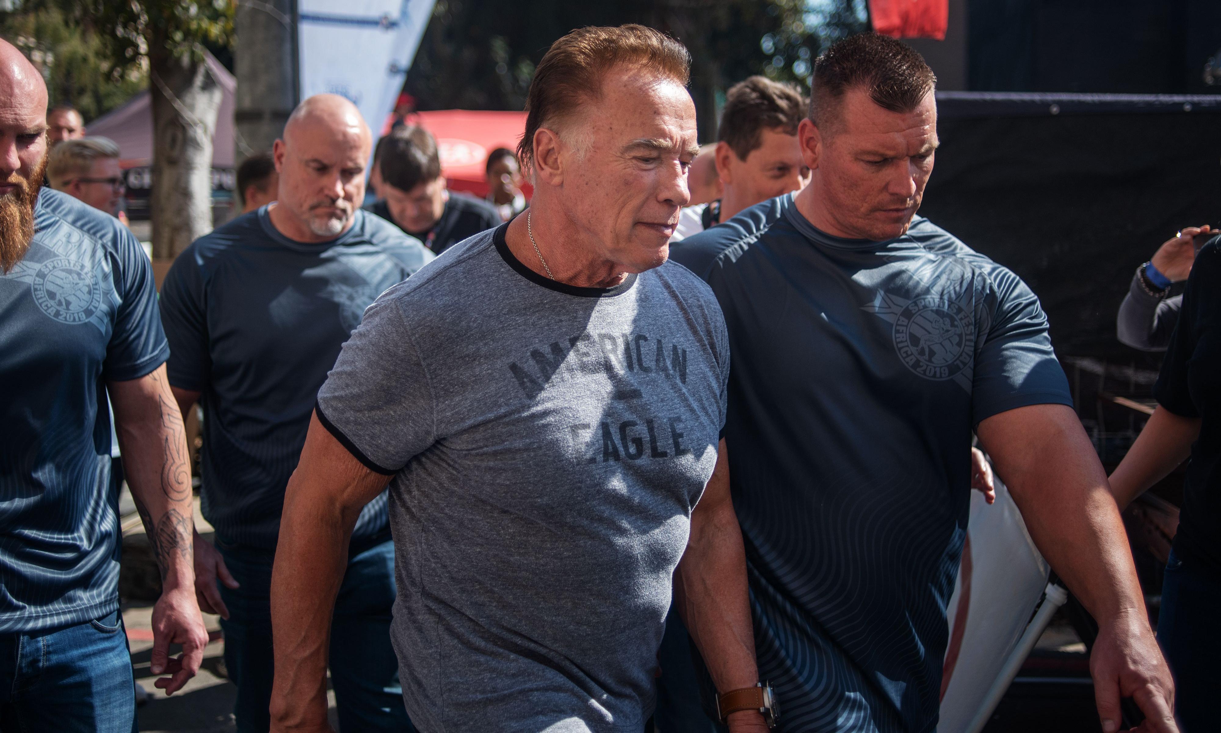 Argh, me back: Arnold Schwarzenegger OK after South Africa flying kick