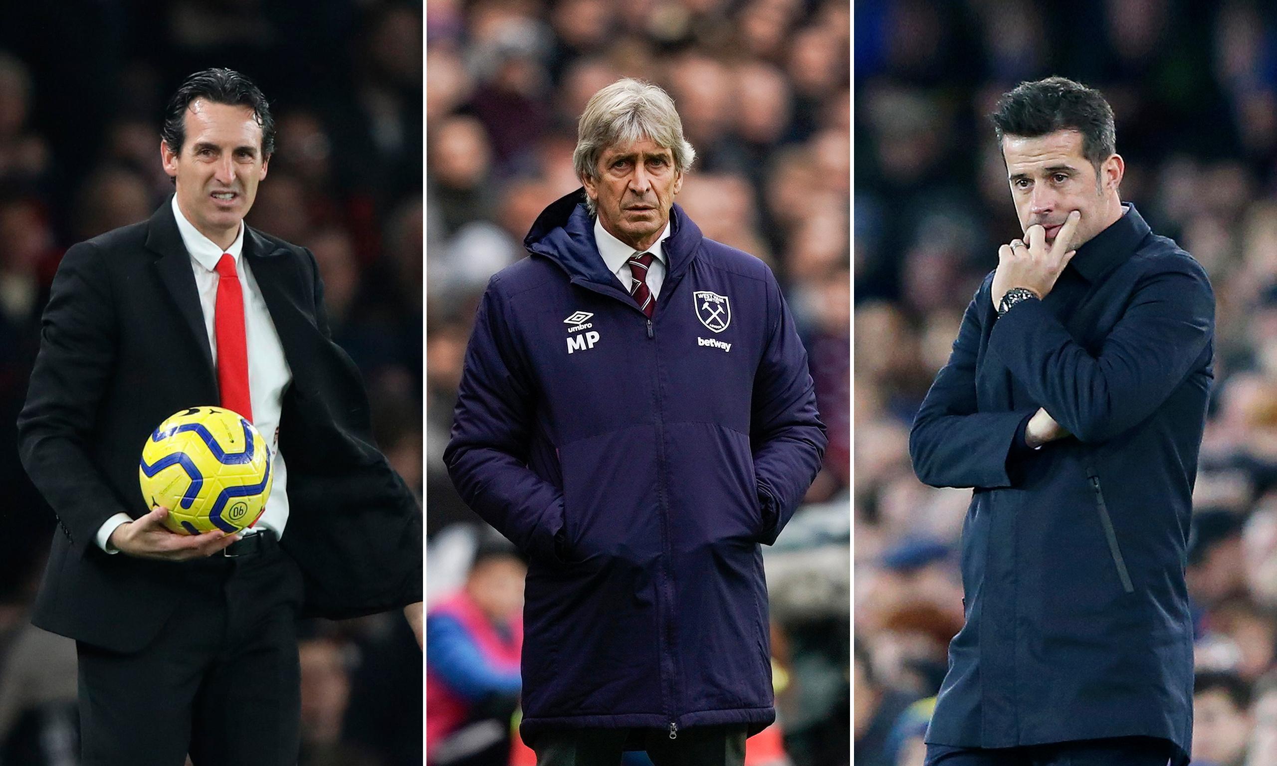 For and against sacking Unai Emery, Manuel Pellegrini and Marco Silva
