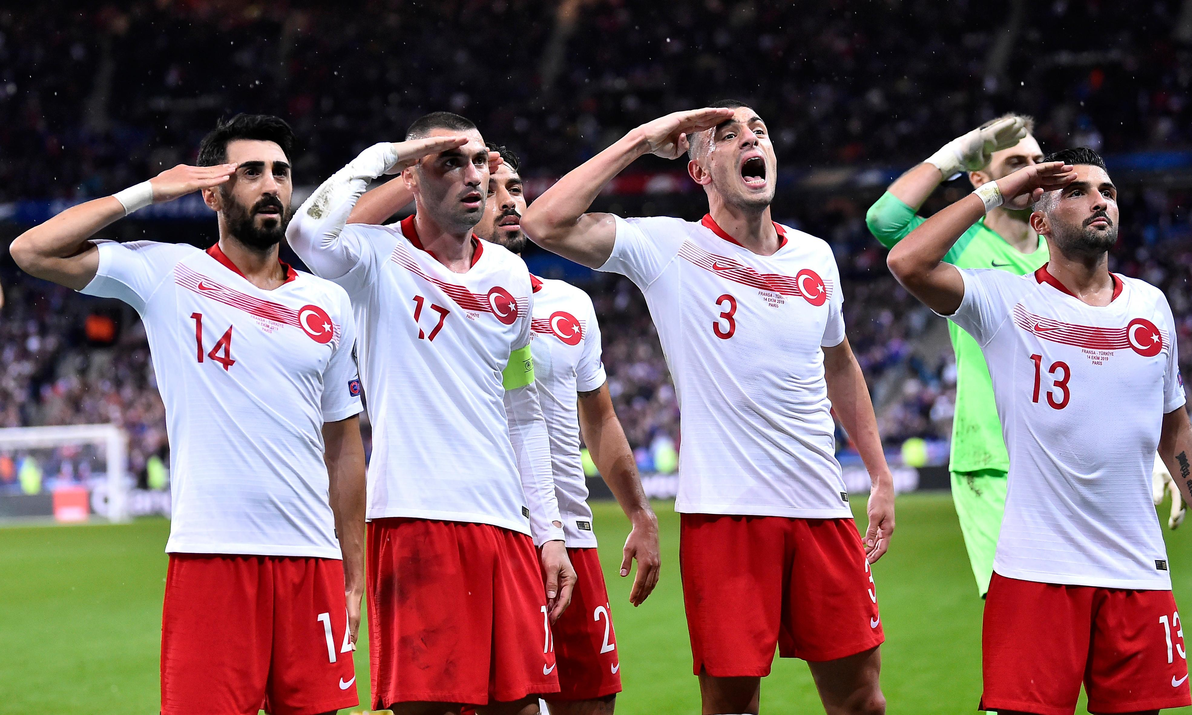 Turkey footballers defy Uefa again by celebrating with military salute