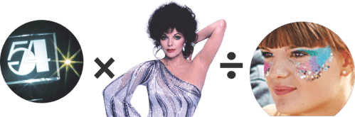 Composite image of a Studi 54 sign, Joan Collins, a girl wearing glittery makeup