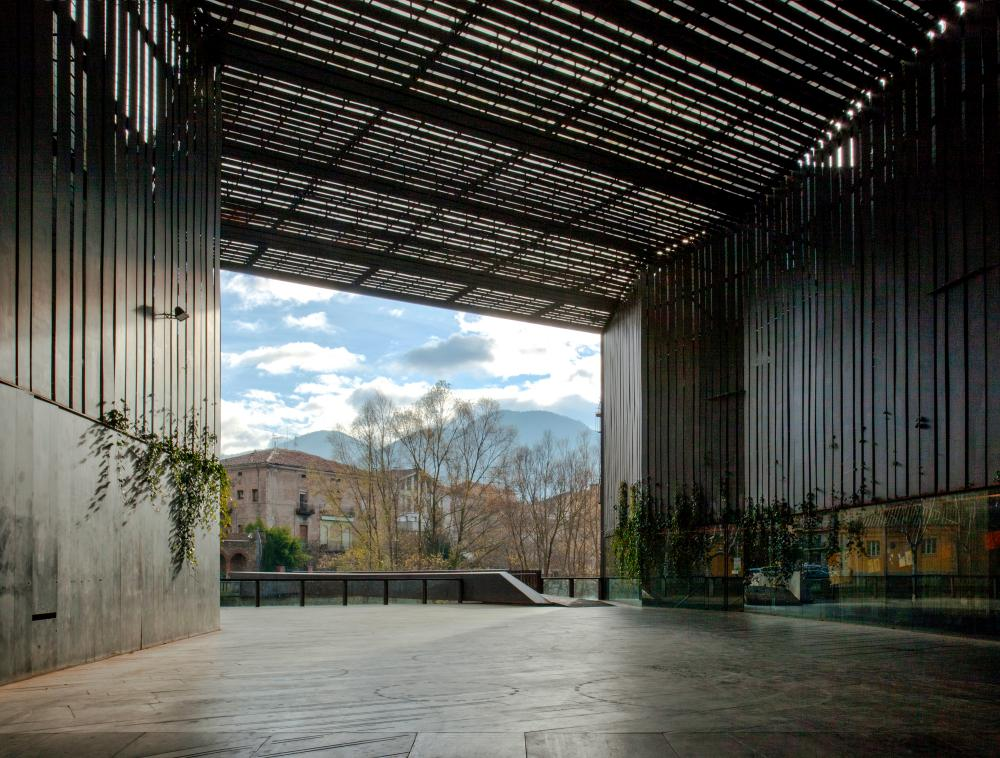 View from inside their public space for La Lira theatre, Ripoll, Girona.