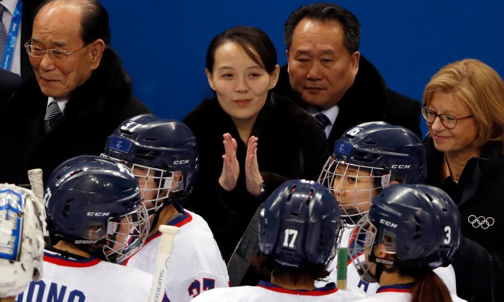 Kim Yo-jong applauds the unified Korean women's ice hockey team.