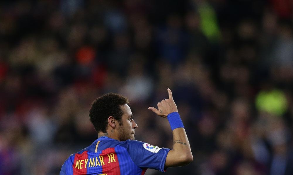 Neymar celebrates his fine free-kick.