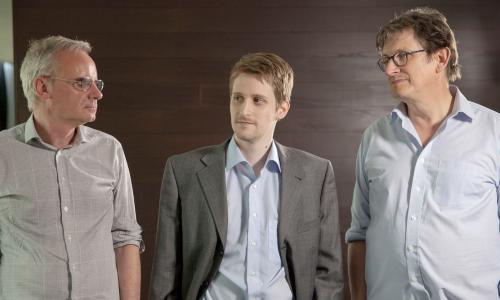 Snowden with Ewen MacAskill (left) and Alan Rusbridger.
