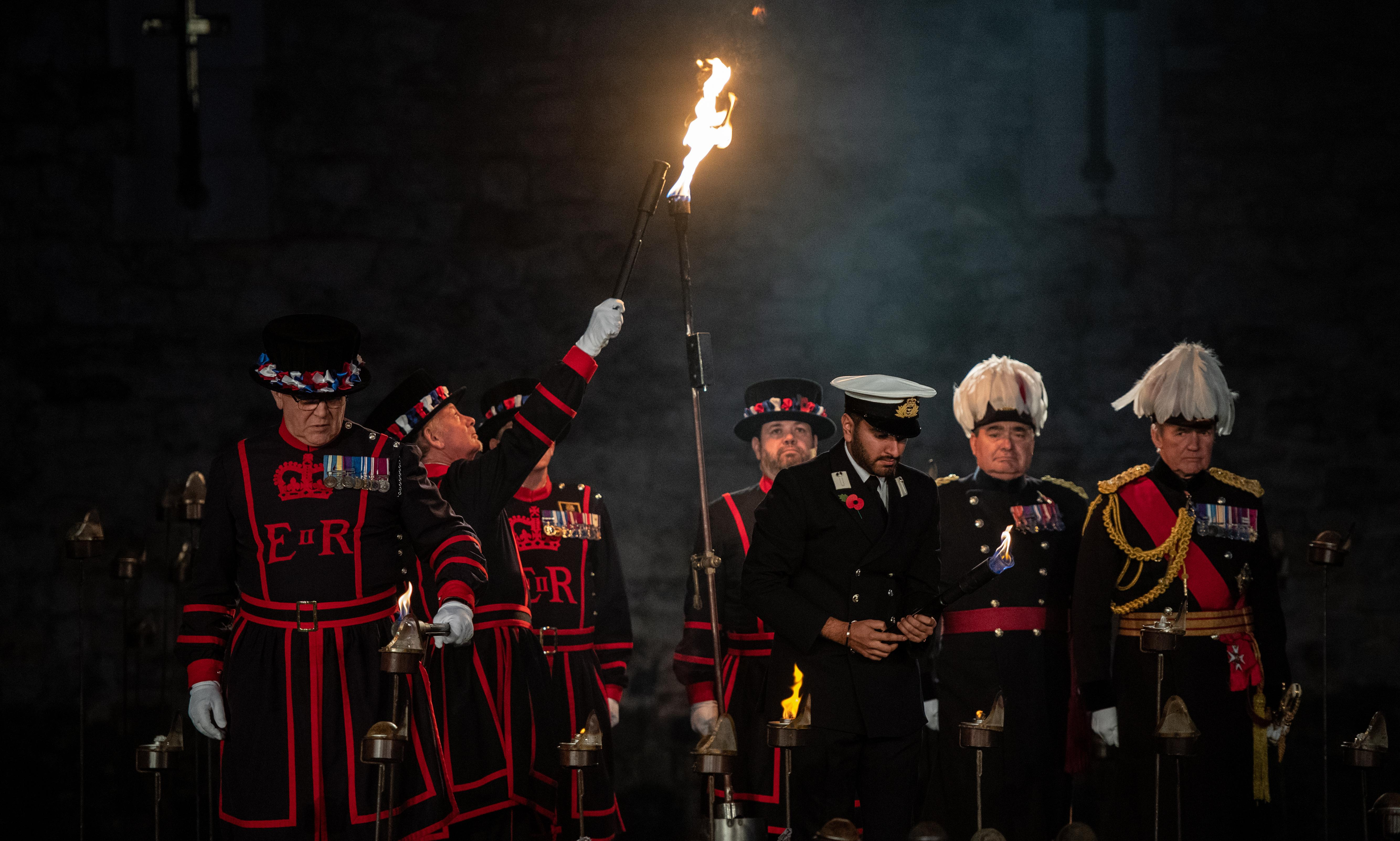 Tower of London lights up in stunning Armistice memorial