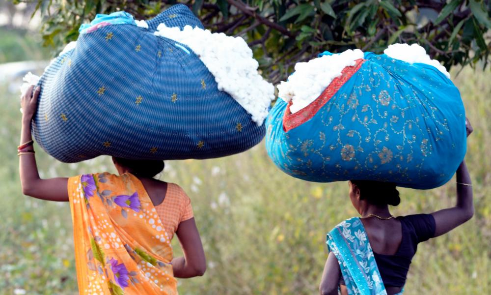 Cotton farmers carrying their produce.