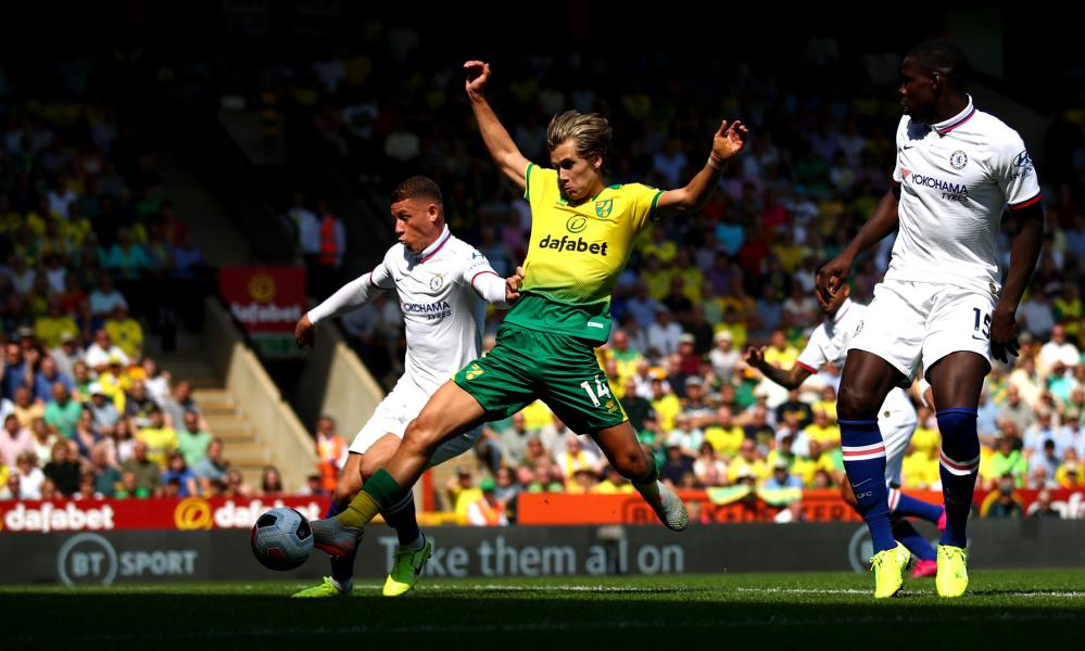 Cantwell meets Pukki's cross to score from close range.